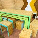arredo in legno e forme geometriche
