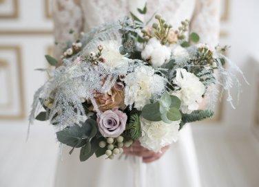 bouquet da sposa, fiori invernali, matrimonio, inverno