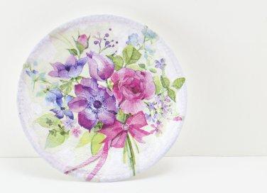 decorazioni primaverili fai da te, piatti decoupage, piatti ceramica decoupage, piatti vetro decoupage