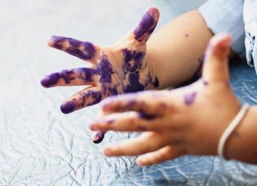 macchie di inchiostro, mani, bambini