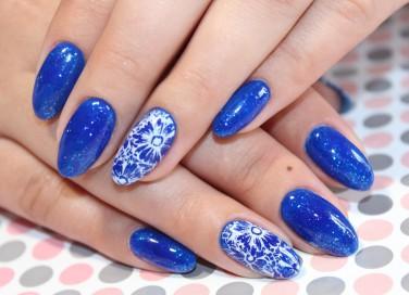 nail art, blu elettrico, unghie