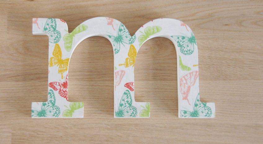 lettere decorative, decoupage legno