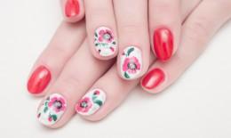 nail art, fiori stilizzati, decorazioni unghie