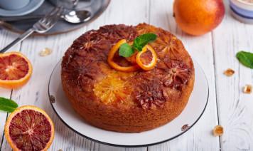 torta all'arancia rovesciata con caramello