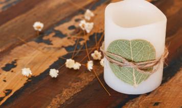 candele foglie secche fai da te