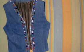 personalizzare gilet jeans, decorare gilet jeans