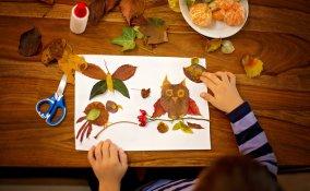 decoupage foglie secche, decoupage bambini, lavoretti foglie secche