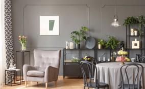 arredamento, soggiorno moderno, bianco grigio