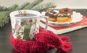 decoupage natale, tazza natalizia fai da te