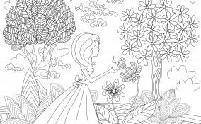 disegno paesaggio primaverile da colorare, disegno primavera da colorare, disegno paesaggio primaverile