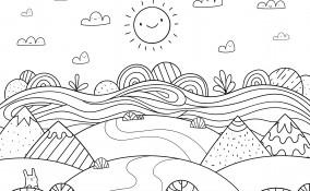 disegno paesaggio estivo da colorare, disegno estate da colorare, disegno estate, paesaggio estivo da colorare