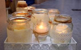 lanterne natalizie barattoli vetro, decoupage vetro, decoupage natale