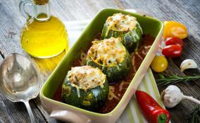 zucchine tonde, padella, ripiene forno