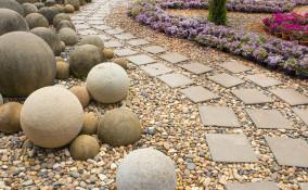 arredare, giardino, sassi