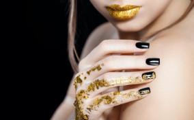 nail art, foglia oro, decorazione unghie