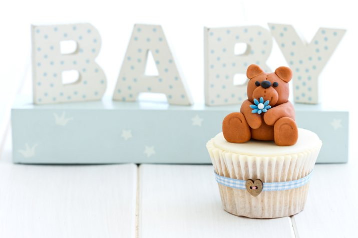 cupcake nascita pasta di zucchero, cupcake nascita