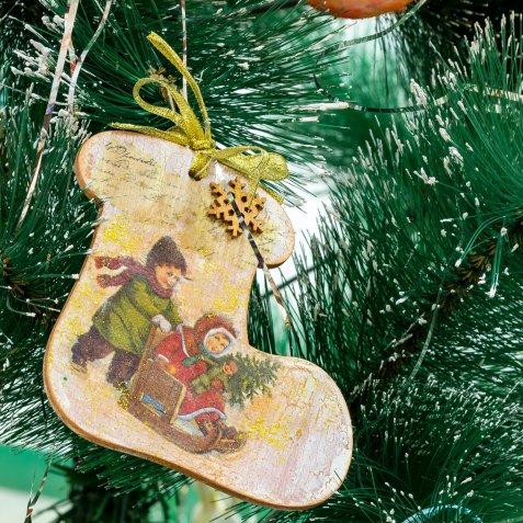 decorazioni albero fai da te, decorazioni natale decoupage
