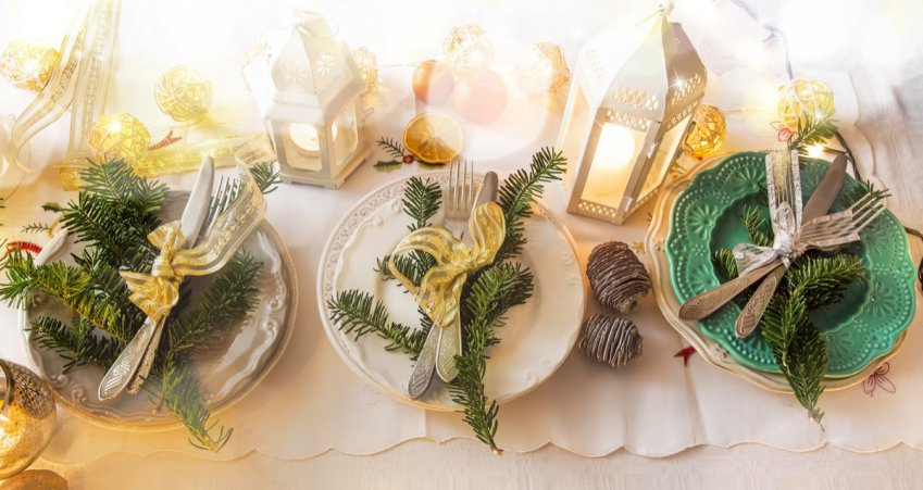 Natale, decorare tavola, decorazioni raffinate