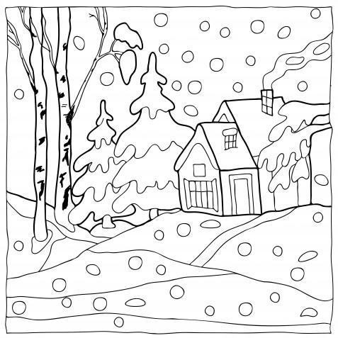 Bellissimo inverno disegni da stampare e colorare for Paesaggio invernale da colorare