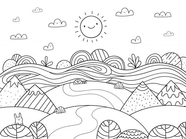 Disegno paesaggio estivo da colorare: 7 immagini gratis belle