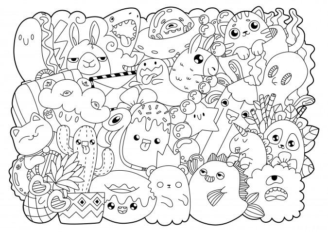 Disegni kawaii da colorare: 5 immagini gratis antistress