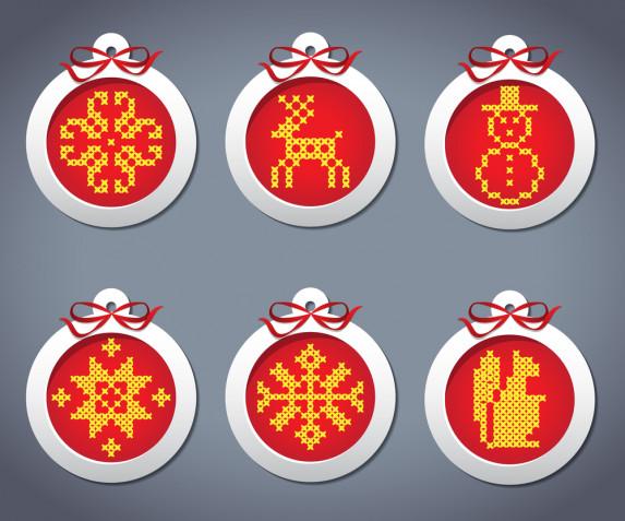 Palline di Natale a punto croce: 7 schemi gratis per gli addobbi fai da te