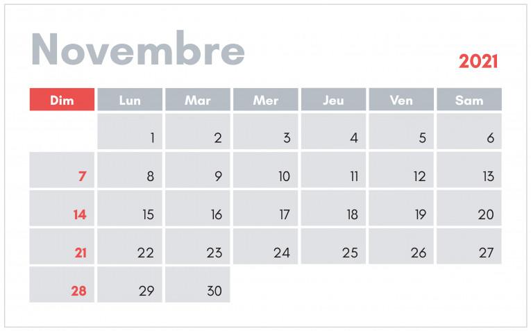 Calendario novembre 2021 da stampare: 11 modelli gratis
