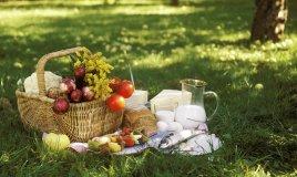 picnic, tovaglia, cestino, campagna, natura, cibo