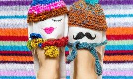 regali san valentino fai da te, pantofole personalizzate per lui cucite a mano, idee cucito san valentino