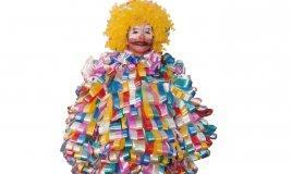 costumi di Carnevale originali, vestito da pagliaccio, vestito da pagliaccio con nastri fiori, riciclo creativo, nastri fiori