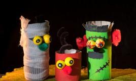 lavoretti halloween, lavoretti rotoli carta igienica, halloween idee