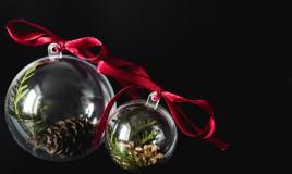 palline di natale trasparenti, decorare palline di natale, decorazioni natalizie con foglie