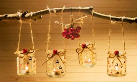 vasetti natalizi portacandele fai da te, vasetti natalizi decoupage, decoupage natale