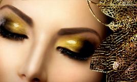 trucco occhi, nero, oro e argento