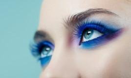 trucco occhi, blu elettrico, make-up da sera