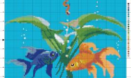 punto croce pesci, schemi punto croce pesci