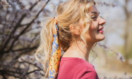acconciature, donna, foulard