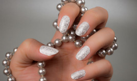 glitter, bianco, unghie