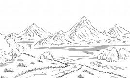paesaggio montagna da colorare, disegno montagna da colorare
