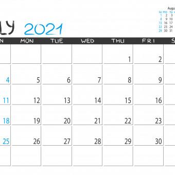 calendario luglio 2021 da stampare, calendario luglio da stampare