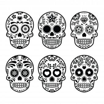 teschi messicani da colorare, teschi da colorare