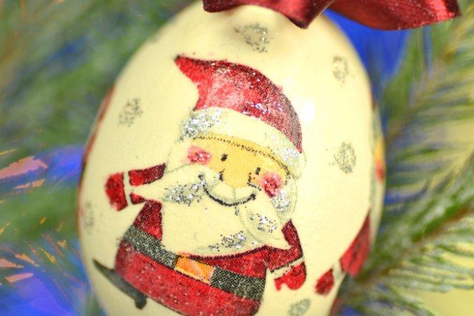 decorazione natale palle albero decoupage