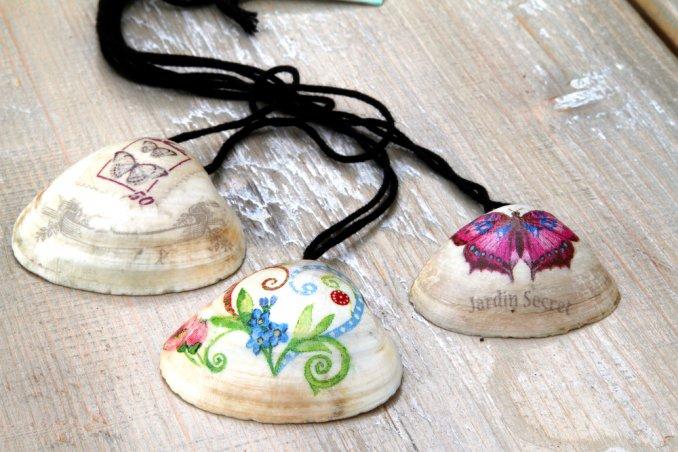 idee creative conchiglie, decoupage conchiglie, gioielli conchiglie