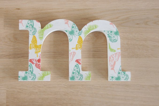 lettere decorative, decoupage legno