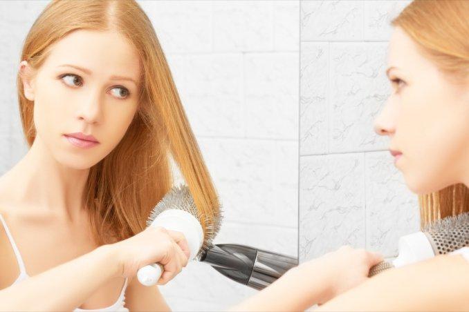 capelli, piega, spazzola