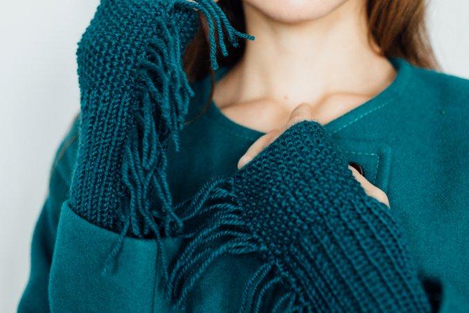 guanti di lana senza dita ai ferri, manicotti di lana