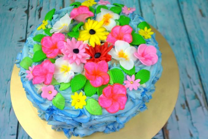 torta a tema hawaiano, torte pasta di zucchero, torte a tema marino