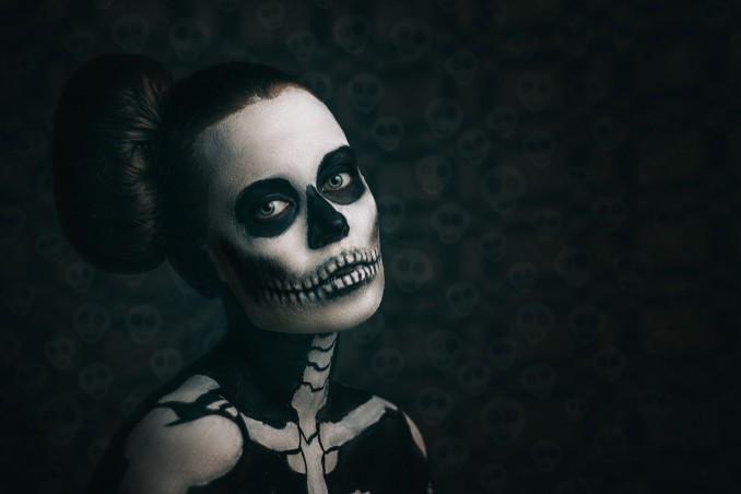 halloween, trucco, scheletro