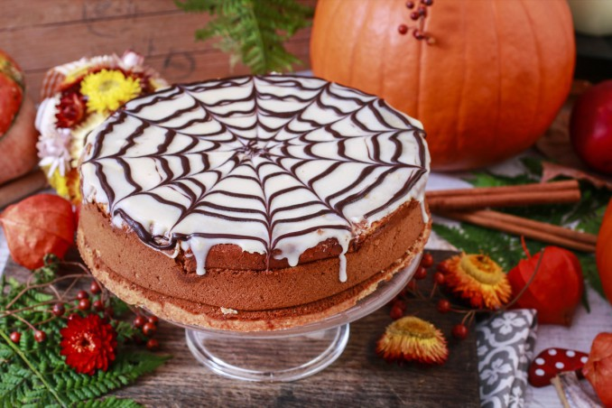 torta, halloween, ragnatela