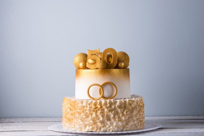 torte 50 anni matrimonio, torte pasta di zucchero